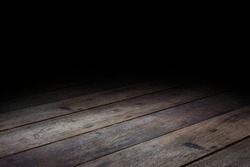 Dark Plank wood floor texture perspective background for display or montage of product,Mock up template for your design.