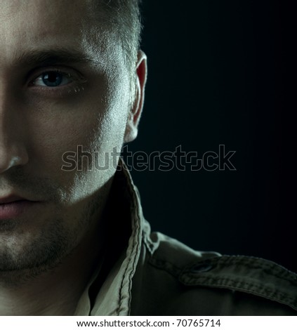 dark portrait - stock photo