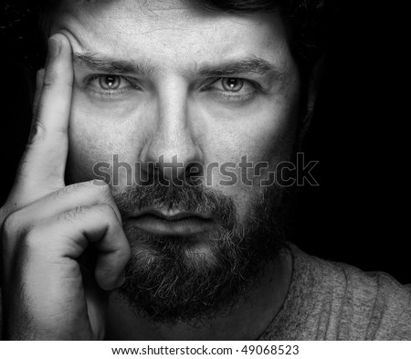 Dark Portrait of Handsome Confident Middle Aged Man