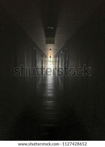 Dark Private corridor turn off lighting feel horror and scare #1127428652