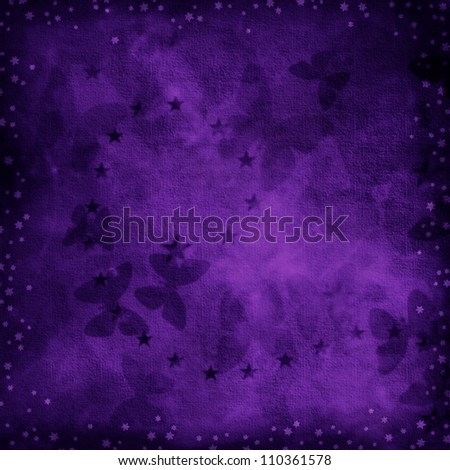 Dark Purple Grunge Background Texture With Stars And Butterflies