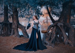 dark queen attractive woman in Gothic dress. Raven in hand. holds golden cage. Backdrop forest river. fashion design fantasy outfit. Royal leather corset with embroidery, rhinestones, precious stones