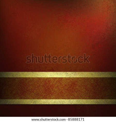 dark red background with gold ribbon trim on bottom border, has black vintage grunge texture, soft light, and copy space