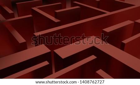 Dark red, dark background, dark color, deep three-dimensional space, maze pattern, 3D rendering