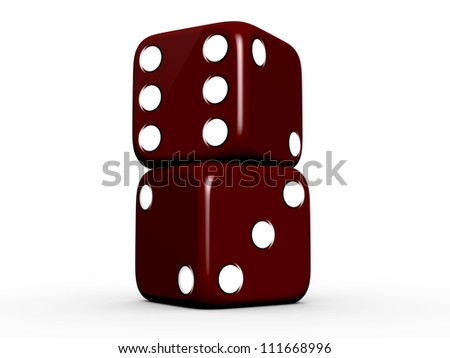 Dark red dices on white isolated background.