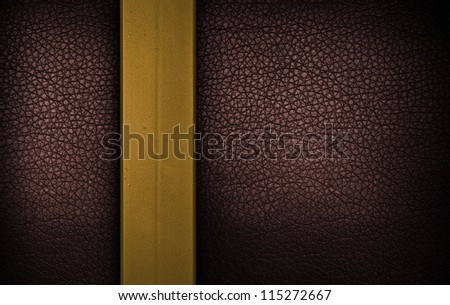 Dark red leather texture with metalic strip - stock photo