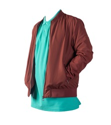 dark red men's bomber jacket and green shirt isolated on white background. fashionable casual wear