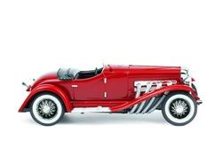 dark red retro car isolated on white background