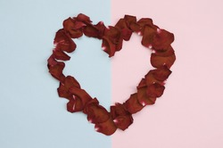 Dark red rose petals on pastel blue and pink background. Valentine's day backdrop with copy space