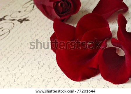 Dark red rose petals scattered on aged background paper with handwriting.  Macro with extremely shallow dof.