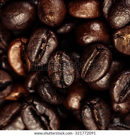 Dark Roasted Black Coffee Beans as Background, Wallpaper, Poster, Ad, macro #321772091