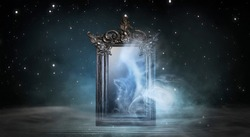 Dark room, a magical antique mirror. Night view of the room, fantasy. Dark abstract background with a square mirror. Neon light, smoke, smog.