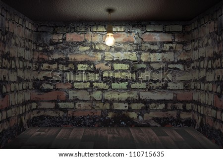 Dark room with brick walls