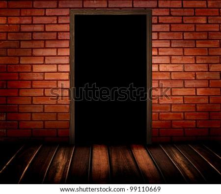 dark room with door - stock photo