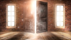 Dark room with large windows and open doors. Old brick walls, wooden floor. Sunlight shines through windows, rays, glare. Abstract room. Magical atmosphere.