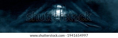 Dark scary fantasy room with windows and doors. Big moon, night sky view, rays of moonlight. Old concrete walls and old windows. reflection of light on the floor, neon light. 3D illustration.  Foto stock ©