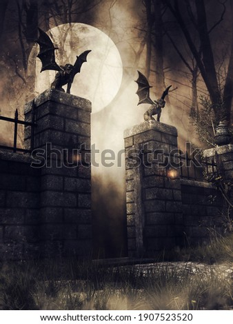 Dark scene with an old gothic gate with lanterns and stone gargoyles at night. 3D illustration.