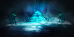 Dark scene with egyptian pyramid and egyptian cat Bastet. The mystical atmosphere of antiquity. abstract dark background, neon blue light. Futuristic style.