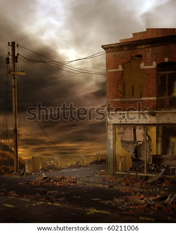 Dark scenery with a ruined street