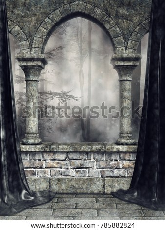Dark scenery with a stone gothic arch and black curtains. 3D illustration.