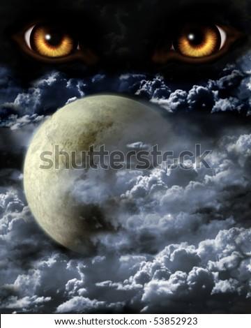 Stock Photo Dark series - full moon. Horror in night