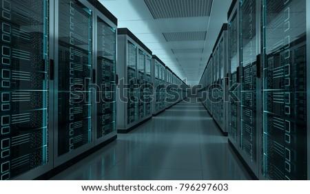 Dark server room data center storage interior 3D rendering