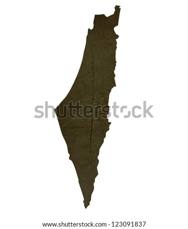 Dark silhouetted and textured map of Israel isolated on white background.