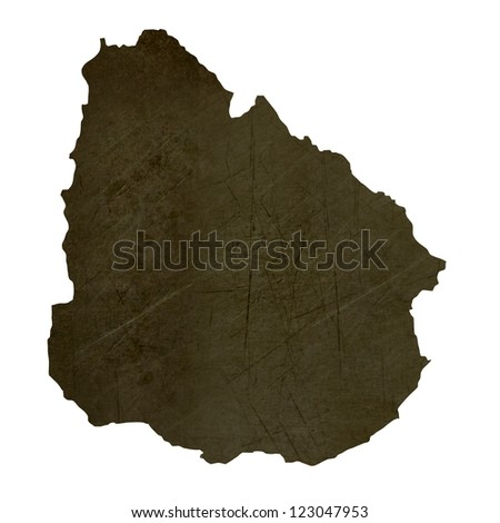 Dark silhouetted and textured map of Uruguay isolated on white background.