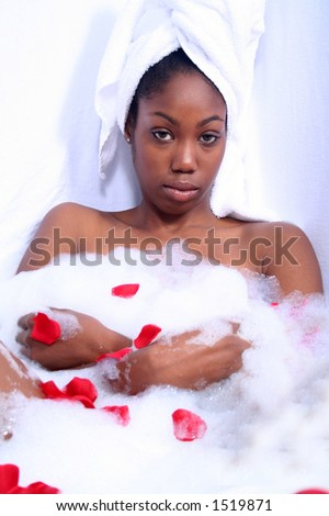 Dark Skinned African American Woman in Bath