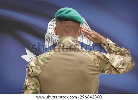 Dark-skinned soldier in hat facing US state flag series - Louisiana