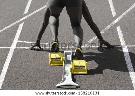 Dark-skinned sprinter in start position prepares for the start
