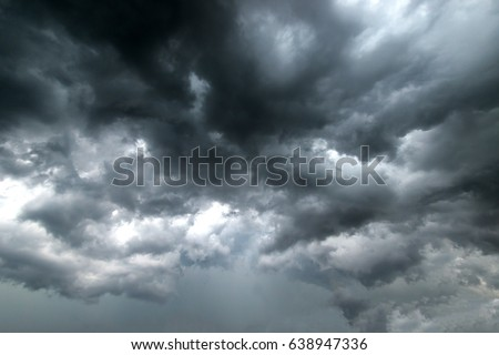 Dark sky and dramatic black cloud before rain.rainy storm