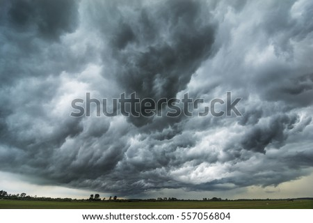 Dark sky and dramatic black cloud before rainy