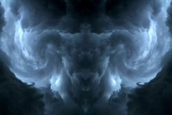 Dark sky and lightning formed to the devil goat shape use for Halloween background