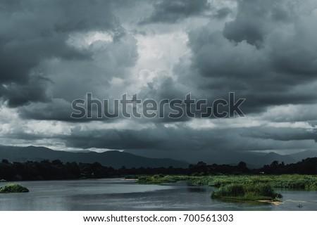 dark sky storm cloudy river landscape view