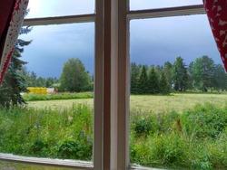 dark sky Sweden old windows