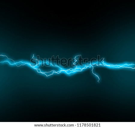 Dark sky with blue lightening illustration. Lightening and thunder bolt glow and sparkle effect. Vector illustration of storm sky.