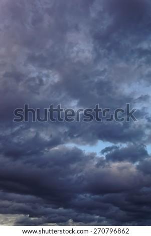 Dark sky with gloomy storm clouds.