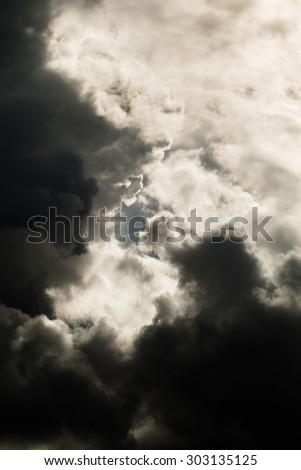 Dark sky with storm clouds