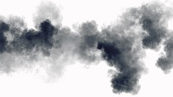 Dark smoke on the white background isolated.