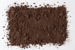 Dark Soil isolated on White Background. Pile of Dirt and Stones. Top View of a Heap of Ground. Close Up Macro View with Text or Image Space