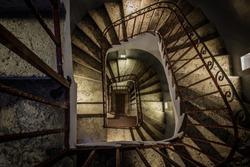 Dark staircase looking down
