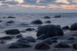 Dark stones on the beach