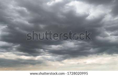 Dark storm clouds before rain used for climate background. Clouds become dark gray before raining. Abstract dramatic background. Photo stock ©