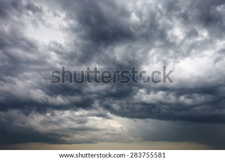 dark storm clouds in the evening spring sky