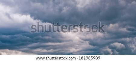 Dark storm clouds. Menacing dark sky stress lead with dark clouds