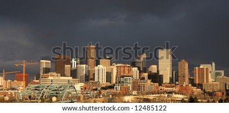 dark storm clouds over denver - panorama, site of 2008 Democratic National Convention