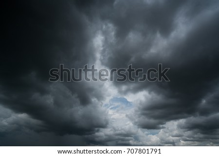 dark storm clouds with background,Dark clouds before a thunder-storm. #707801791