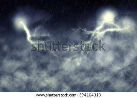Dark stormy sky and bright lightning, thunderstorm background. #394104313