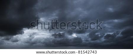 Dark stormy sky. Panoramic image.